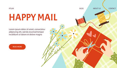 Website banner interface template for mail services, flat vector illustration.