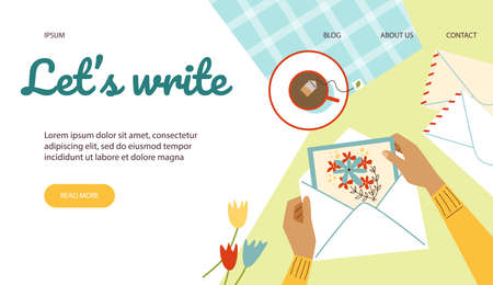 Vector web banner with female hands holding card with flowers in mail envelope Vectores