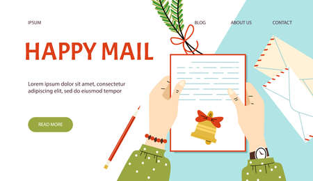 Website for mail services with hands holding letter, flat vector illustration.