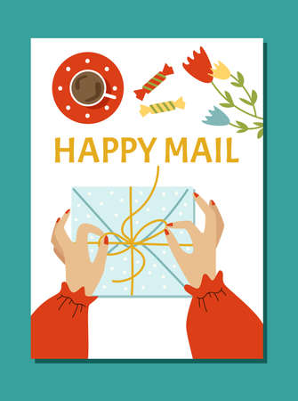 Poster or banner with hands unpacking letters or mail, flat vector illustration.