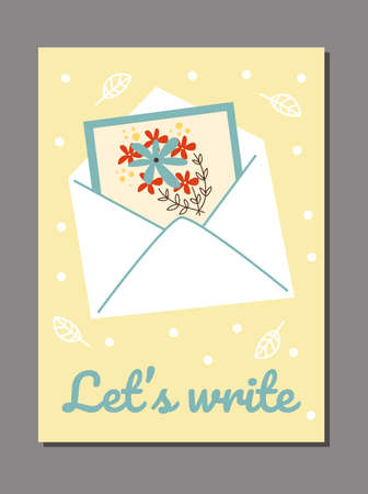 Vector poster with colorful paper greeting card with flowers in mail envelope.