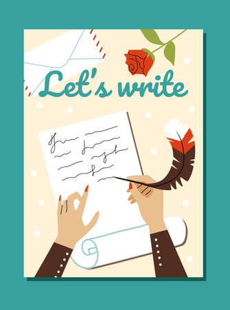 Poster with hands writing letters with ink and feather, flat vector illustration. Vectores