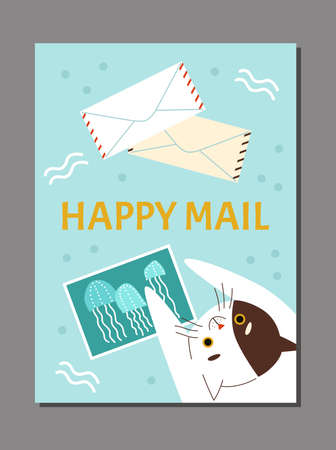 Mail poster with cat among postcards and envelopes, flat vector illustration. Vectores
