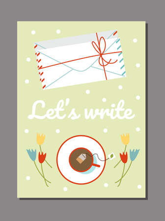 Poster with letters in mail envelopes and cup of tea, flat vector illustration.