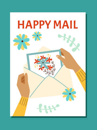 Vector poster with female hands holding greeting holiday card in mail envelope