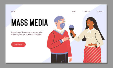 Vector web banner with tv journalist takes interviews broadcasting breaking news