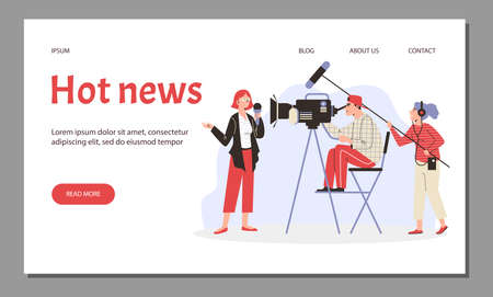 Hot News website with journalist and camera operator, flat vector illustration.