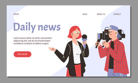 Web banner with female reporter and cameraman live broadcasting tv daily news.