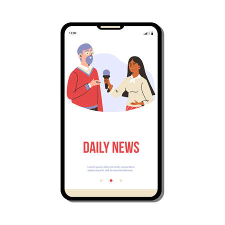 Daily news mobile page with reporter interviews a man, flat vector illustration.