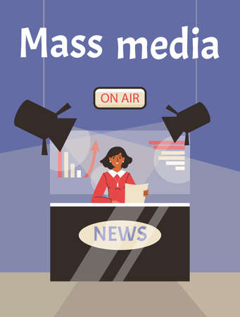 Poster with journalist newscaster on air reads hot news in front of tv cameras Vectores