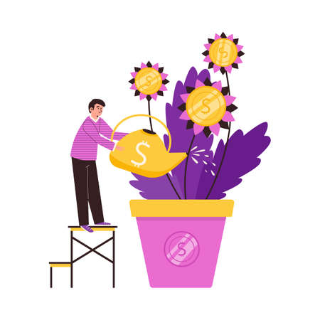 Business man care to money tree growing in pot a vector illustration