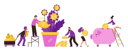 Business people watering money tree, flat vector illustration isolated.