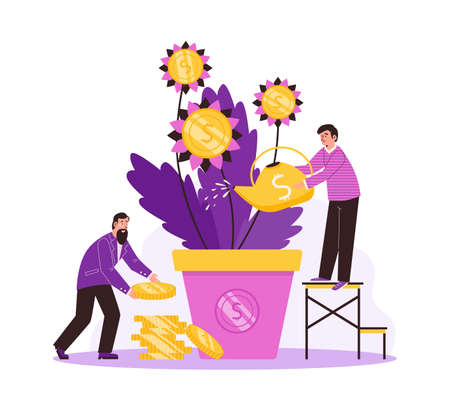 Male characters watering money tree and collects golden coins from plant in pot. Vectores