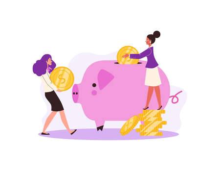Happy female persons puts golden coins in piggy bank a vector illustration.