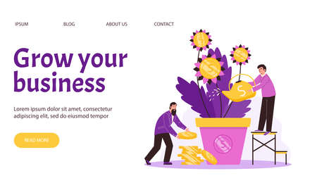 Web page with business persons watering money tree and collects golden coins.