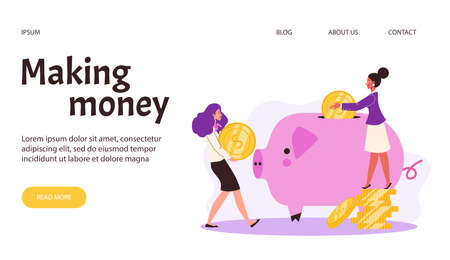 Web banner with concept of save money, financial investment or finance savings Vectores
