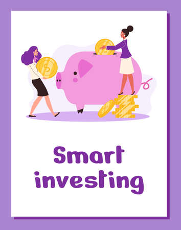 Poster with business women making financial smart investment or finance savings. Vectores