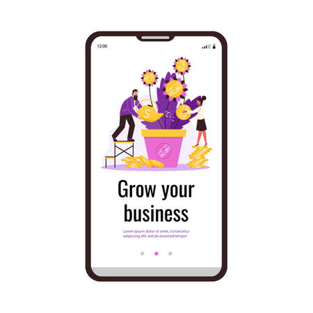 Vector mobile phone screen with business man and woman caring money tree in pot.