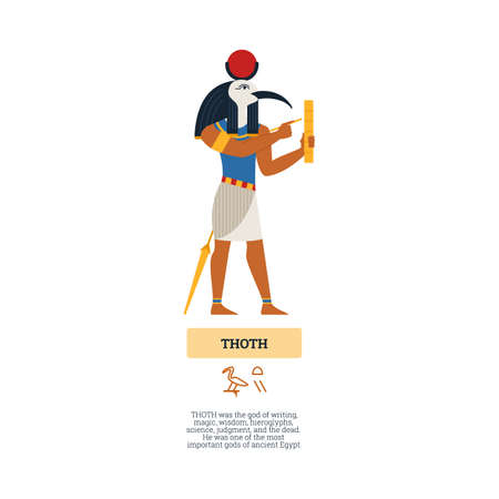 Ancient egyptian God Thoth man with head of ibis bird, flat vector illustration isolated on white background. Vectores
