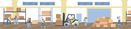 Workers in warehouse or logistic company storage, vector illustration isolated.