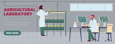 Science laboratory with scientists research of green plant growing in test tubes. Vectores
