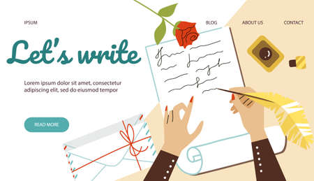 Website banner template with hands writing letter, flat vector illustration.