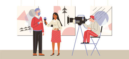 Journalist interviews an artist in art gallery, flat vector illustration.