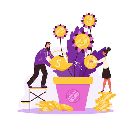 Business people growing money plant in pod, flat vector illustration isolated. Vecteurs
