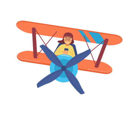 Child boy piloting on vintage airplane, flat vector illustration isolated. Vecteurs