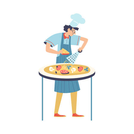 Italian chef cook grating cheese on pizza, flat vector illustration isolated.