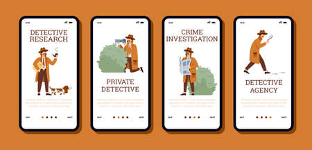 Detective agency onboarding mobile screens kit, flat vector illustration.