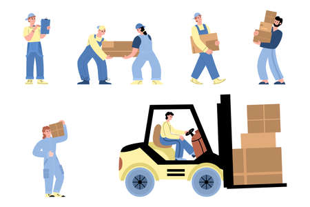 Set of characters warehouse or delivery workers in uniform working at storehouse
