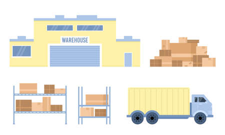 Warehouse logistic company facility and transport, vector illustration isolated. Vectores