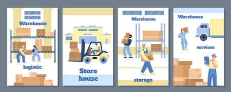 Set of templates for posters, banners of warehouse work in flat vector illustration
