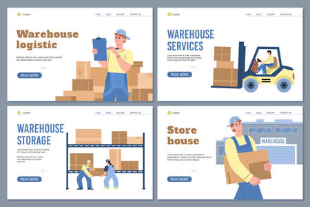 Warehouse storage and logistic website banners, flat vector illustration. Vectores