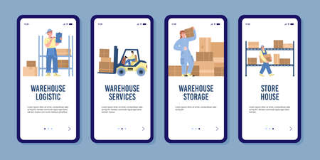 Set of onboarding screens with conseption warehouse work in flat vector illustration