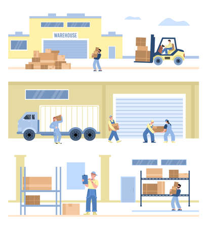 Set banners with workers of warehouse, flat vector illustration isolated.