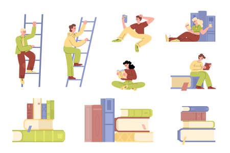 Knowledge educational ladder metaphor set in flat vector illustration Vectores
