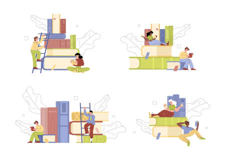 Set of people characters nearby books piles, flat vector illustration isolated.