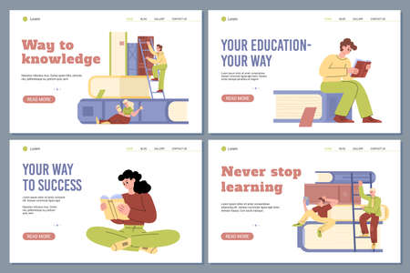 Set of vector web apps for education, personal development and knowledge.