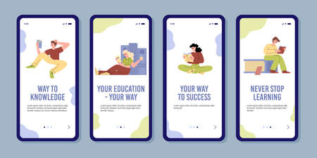 Set of onboarding screens with educational concept with lettering in flat vector