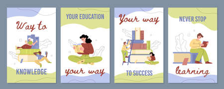 Set of posters with educational concept with studens reading book in flat