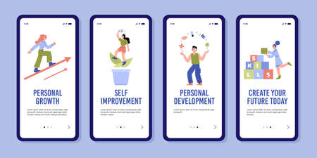 Set of templates for mobile app about self improvement, personal and professional growth. Vector flat illustration for landing page design.