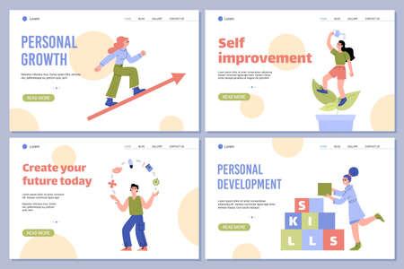 Personal development and self improvement web banners flat vector illustration.