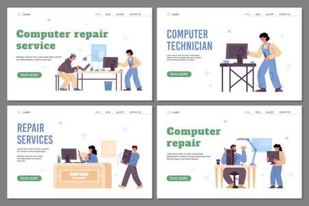 Computer repair technician services webpages bundle, flat vector illustration.