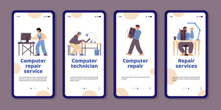 Smartphone apps for computer repair service center with professional technicians Vectores