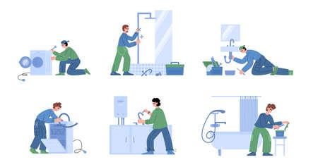 Plumbing set with various male characters plumbers repairing problems