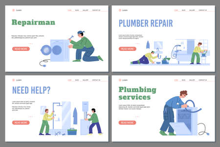 Web banners for plumbing repair service with professional workers plumbers. Vectores