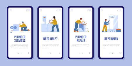 Home appliances and plumbing onboarding screen kit, flat vector illustration.