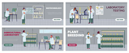 Agricultural laboratory banners set with scientists, flat vector illustration. Vectores